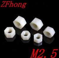 1000PCS M2.5 White Nylon Plastic Hex Nut