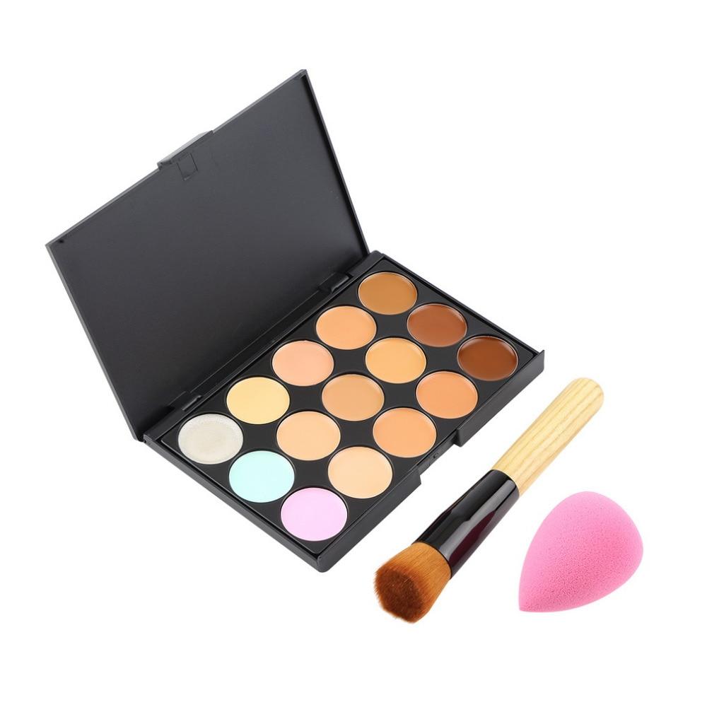 15 Color Pro Concealer Face Primer Cream Contour Palette Makeup Corrector Base Palette Sponge Puff Powder Brush New Hot