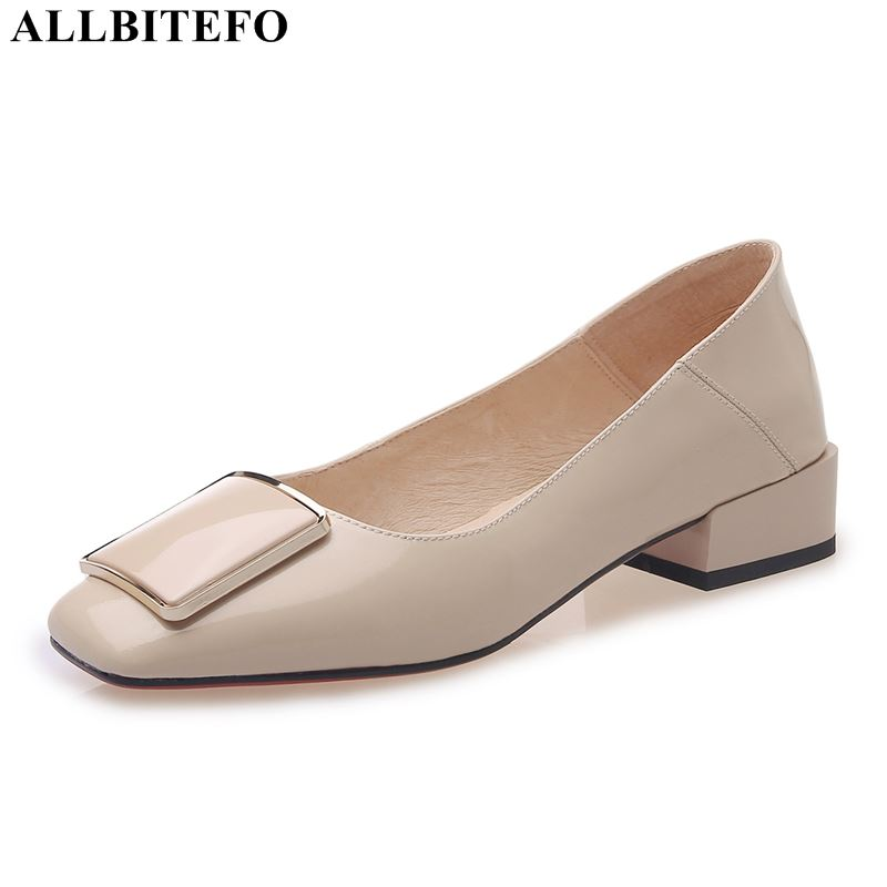 ALLBITEFO Fashion Brand Genuine Leather High Heels Party Women Shoes High Quality Office Ladies Shoes Women High Heel Shoes