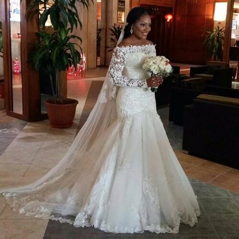 Wedding Gown With Neck Detail: Mermaid Off The Shoulder Lace Wedding Dress Boat Neck Long