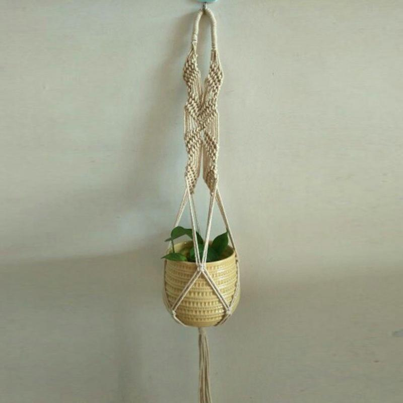 High Quality Pot Holder Macrame Plant Hanger Hanging Planter Basket Natural Fine Hemp Rope Braided Craft Drop Shipping 0611 in Hanging Baskets from Home Garden