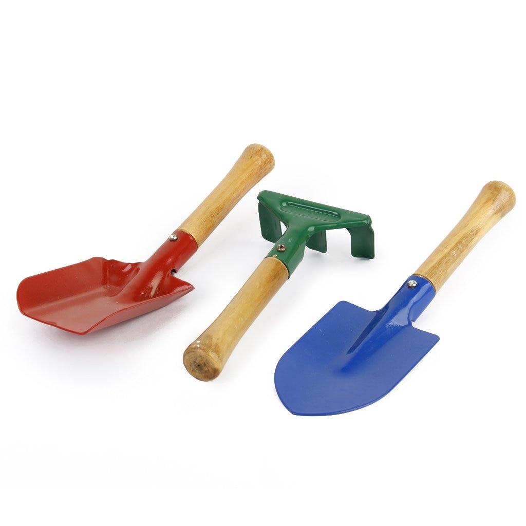 New 3Pcs Outdoor Garden Tools Set Rake Shovel Playset Kids Beach