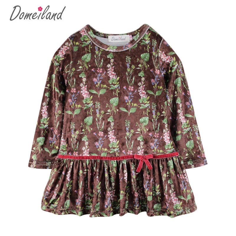 2017 New Fashion Brand domeiland Children Clothes cute girl print Floral dress Princess ruffle dress Kid girls Party clothing new girls dress brand summer clothes ice cream print costumes sleeveless kids clothing cute children vest dress princess dress