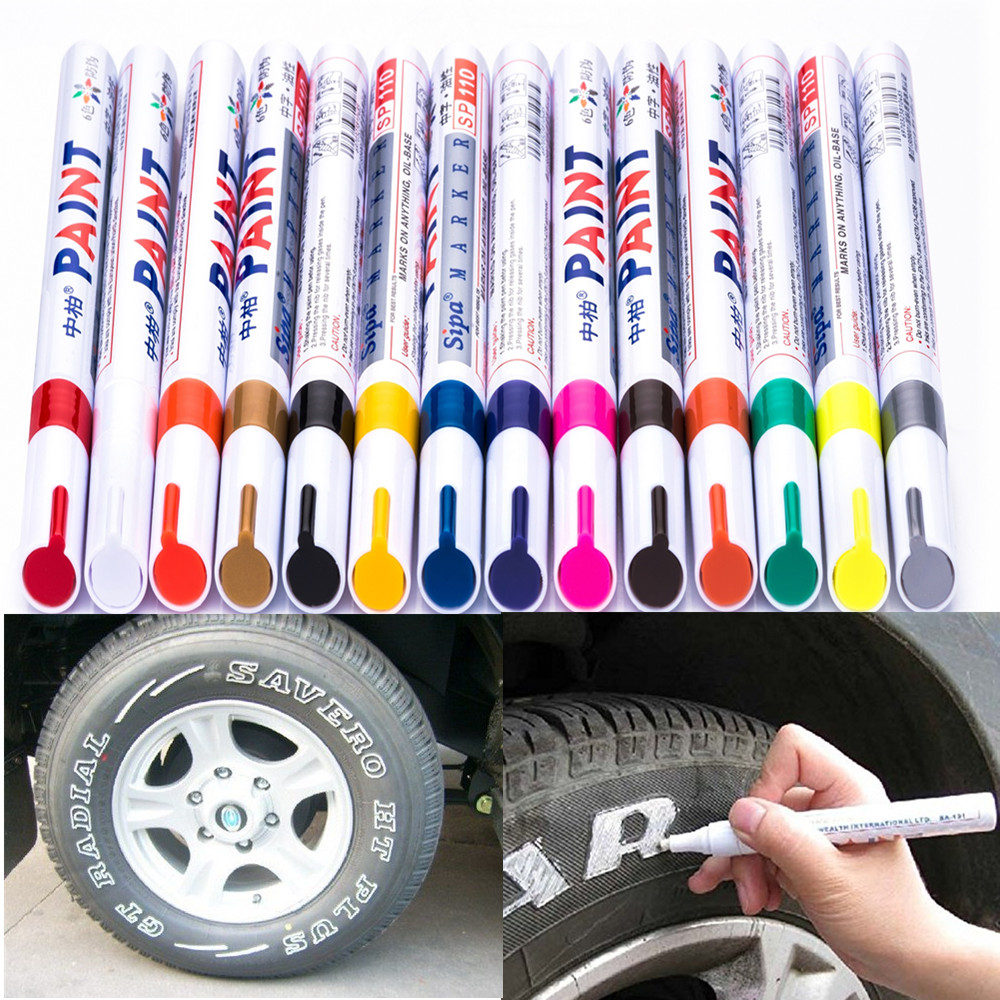 12 COLOR Permanent Drawing Car Tire Rubber Metal Paint Highlighter Design Waterproof Marker Pens