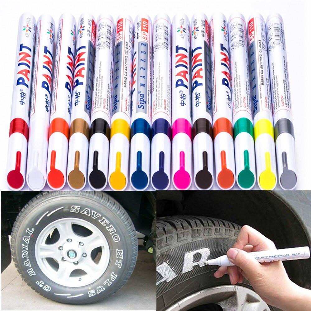 12 cores permanente desenho pneu de carro borracha metal tinta highlighter design canetas marcador à prova dwaterproof água