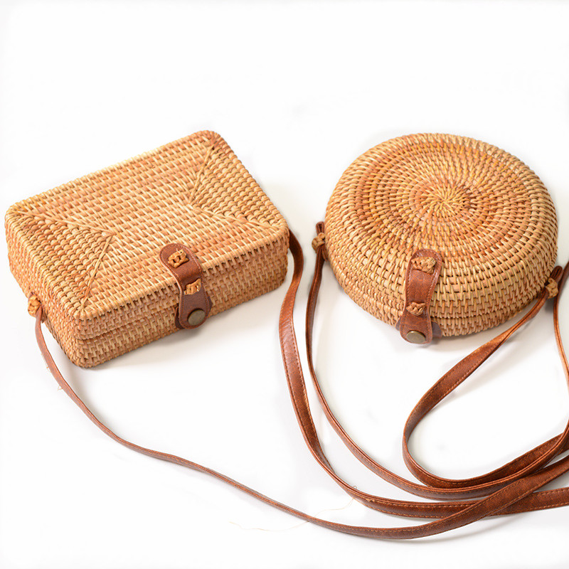 Handmade Rattan Woven Round Women Crossbody Bag Vintage Retro Straw Square Box Messenger Bag Lady Summer Cute Beach Shoulder Bag 2017 women handmade patchwork wool pu leather shoulder bag vintage retro cute china red small cell phone funky crossbody bag