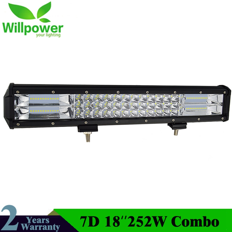 18Inch 252W 7D Tri Row LED Light Bar Combo Beam For Offroad Work Light 4WD 4x4