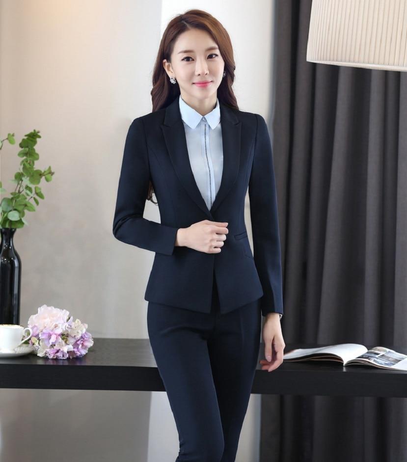 Formal Uniform Design Professional Work Suits With Jackets And Pants Autumn Winter Las Office Trousers Sets Blazers Uniforms En Trajes De Pantalón