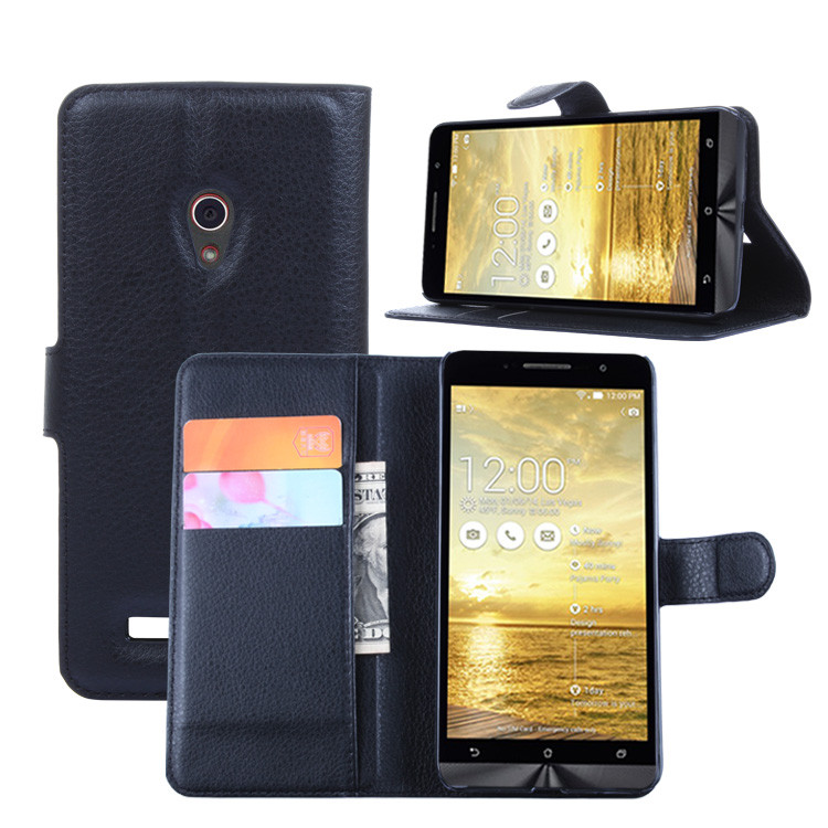 Fashion Wallet PU Leather <font><b>Case</b></font> Cover Flip Protective Phone Back Shell For <font><b>Asus</b></font> <font><b>Zenfone</b></font> <font><b>5</b></font> <font><b>A501CG</b></font> Visa Card Slot With Stand image