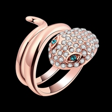 Anneau AAA zircon rose gold color fashion Jewelry Snake design Women's ring fit Wedding party jewelry Exclusive Design