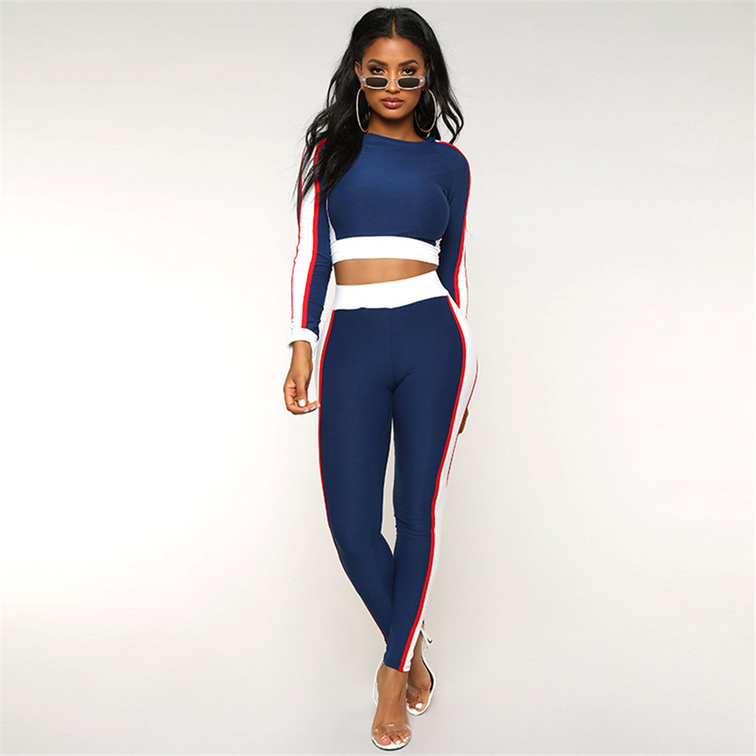2019 tracksuit for women Fitness clothes Sportswear female sports suit Long Sleeve Yoga set Workout gym clothing Two Piece suit