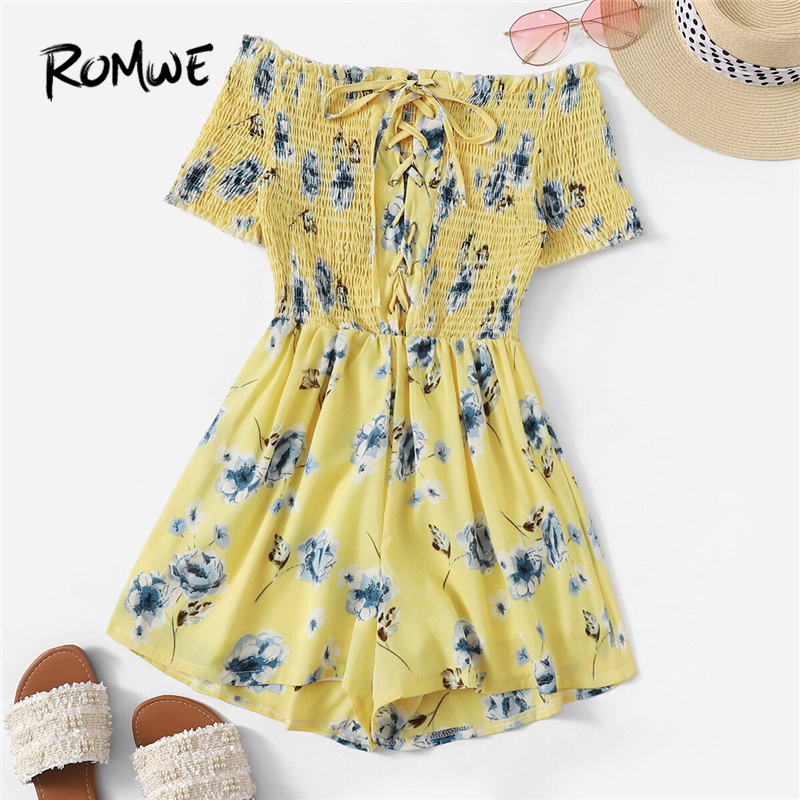 ROMWE Yellow Floral Print Shirred Off The Shoulder Playsuit Women Summer Boho Short Sleeve Wide Leg Lace Up Frill Mini   Romper