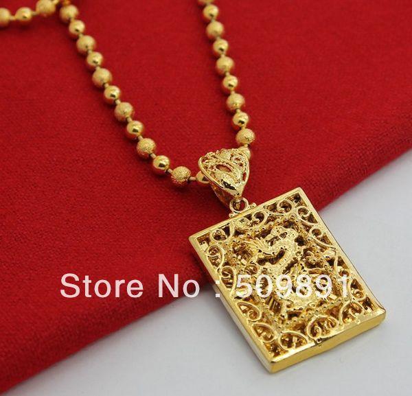 Nec1533 fashion gold dragon necklaces for men square pendant jewelry nec1533 fashion gold dragon necklaces for men square pendant jewelry with 4mm beads chain bijouterie aloadofball Gallery