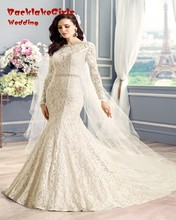 Amazing Lace Long Sleeve Mermaid Dress 2017 Sexy Backless Sashes Elegant Vestido De Noiva Custom Made Wedding Gowns