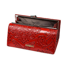 Piros divat női pénztárca valódi bőr női hosszú bilincs táskák márka stílusok pénztárca kártya tartó táska