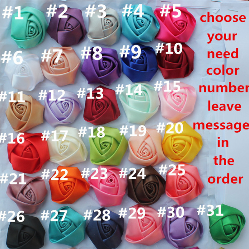 3.5CM(1.37) 100pcs/lot Wholesale Satin Colorful Rose Bud Clothing Accessories 3D Rose Single Head Home Decor Material On Sale