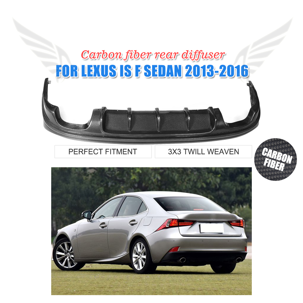 Carbon Fiber Rear Bumper Diffuser Lip Spoiler For Lexus IS & F Sport Sedan IS250 IS300 IS350 2013-2016 dual exhaust one outlet