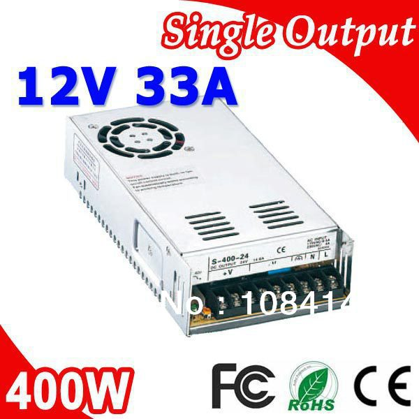 S-400-12 400W 33A Switching Power Supply for LED Strip light,220V/110V AC Input,12V output freeshipping 400w led switching power supply 12v 33a 85 265ac input power suply 12v output ce rosh hotsell s400w 12v 33a