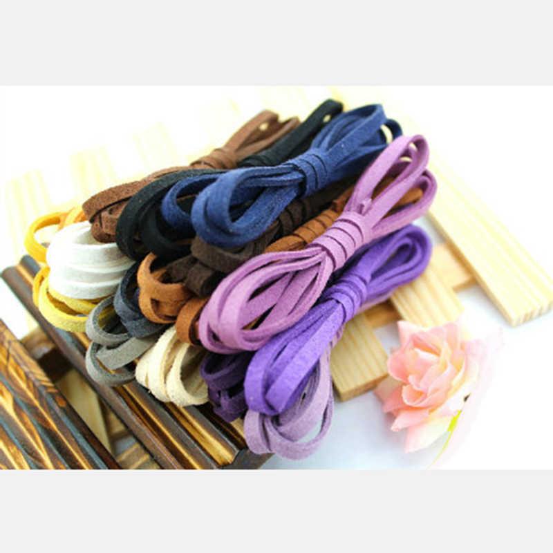 1 m/lote colores 5mm ancho plano Faux gamuza terciopelo cuerda cordón hecho a mano DIY para hacer joyería gargantilla pulsera collar