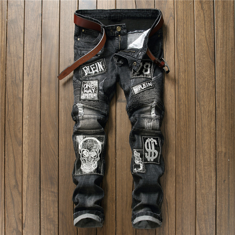 Hi-Street Mens Distressed Biker Jeans Skull Patchwork Fashion Pleated Ripped Denim Joggers Black Slim Fit Trousers With Patches 9