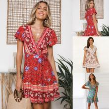 MisShow Bohemian Summer Beach Dress Women Sexy Floral Printed Tunic with Belt Short Sleeve Sundress