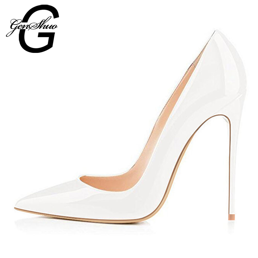 Genshuo Nude Pumps Wedding-Shoes High-Heels 12cm Black Silver Mujer Estiletos