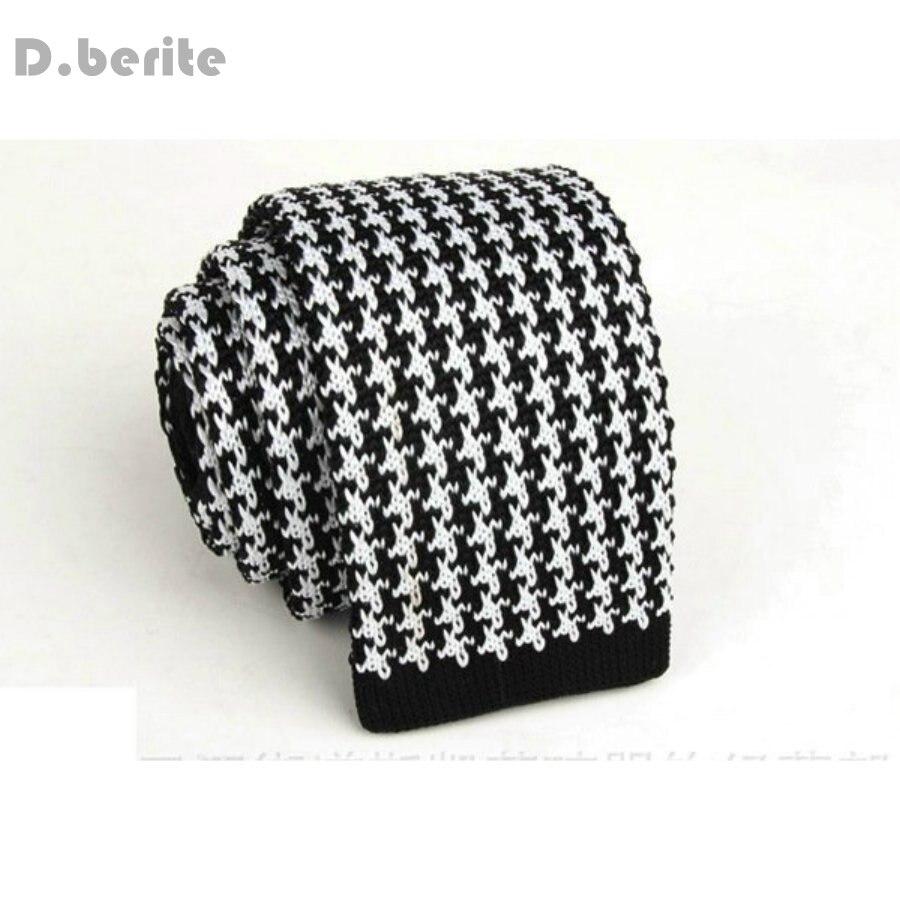 Men\'s Black White Pattern Classical Knit Tie Slim Skinny Knitted ...