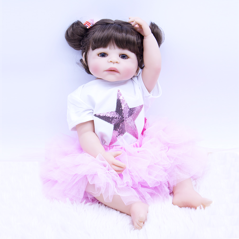 22inch Full Silicone Reborn Girl Baby Doll Toys Real touch modeling Toddler Babies Dolls Princess bebe doll Play House Toy22inch Full Silicone Reborn Girl Baby Doll Toys Real touch modeling Toddler Babies Dolls Princess bebe doll Play House Toy