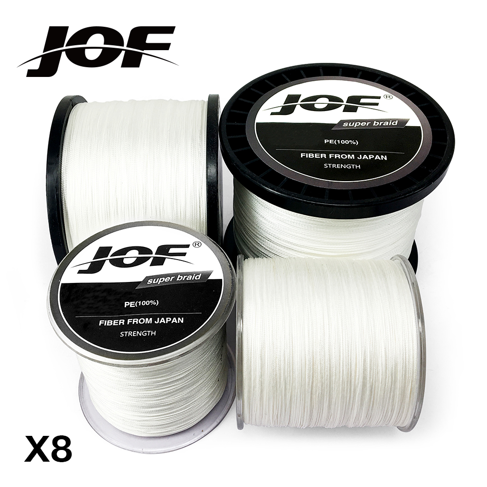8 Strands 100M 300M 500M 1000M JOF PE White Braid Fishing Line Weave Superior Extreme Strong 100% SuperPower