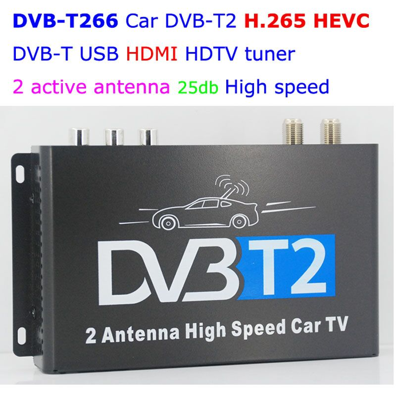 HDTV voiture DVB-T265 allemagne DVB-T2 H.265 HEVC MULTI PLP numérique TV récepteur automobile DTV boîte avec deux Tuner antenne Freenet