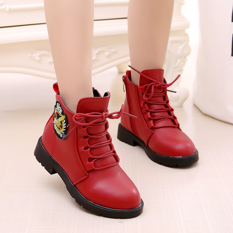 2018 New Fashion European Style Black Ankle Boots Flats Round Toe Back Zip Martin Boots PU Leather Girls Shoes With Warm Plush pu pointed toe flats with eyelet strap