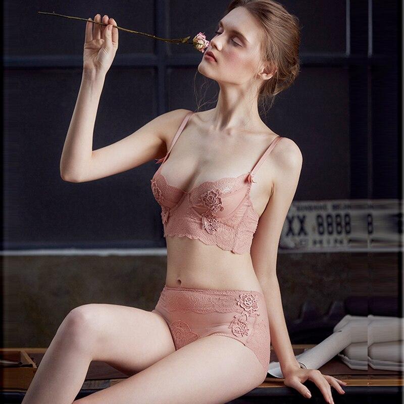 Bh & Slip Sets Cinoon Frauen Sexy Unterwäsche Bh Stickerei Dessous Set Dünne Spitze Bh Transparent Ultra-dünne Versuchung Push-up Bh Set