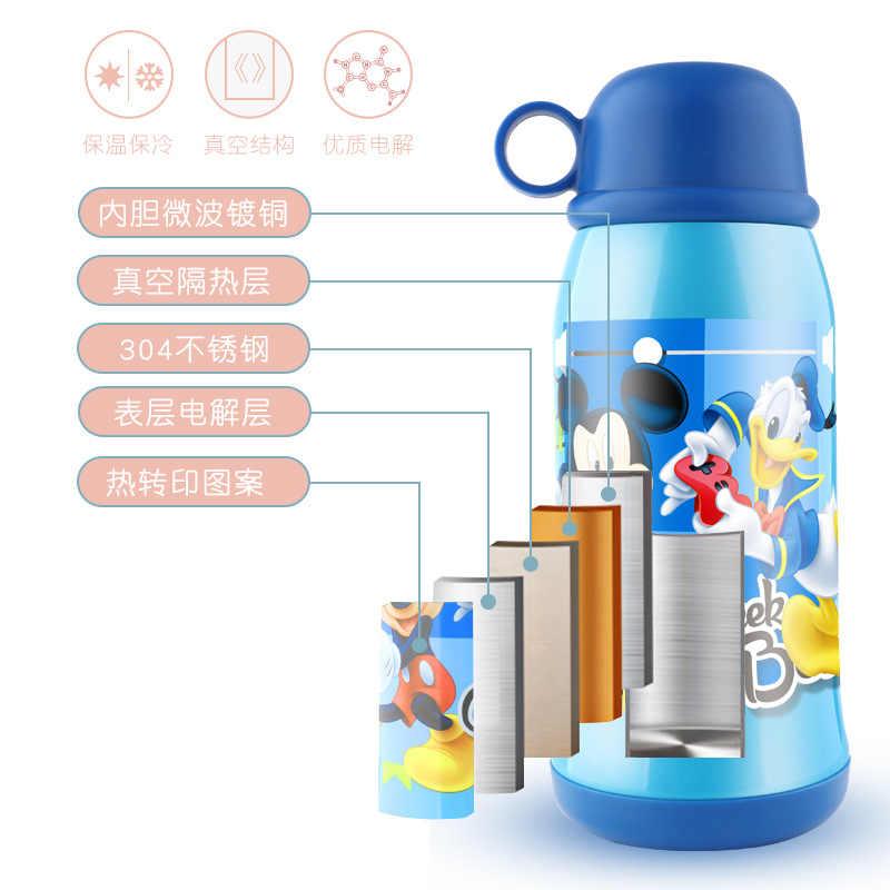 500 мл детская Герметичная Бутылка с 2 крышками Микки Маус зимний термос чашка для воды кормления детские бутылочки соломы термальные детские чашки
