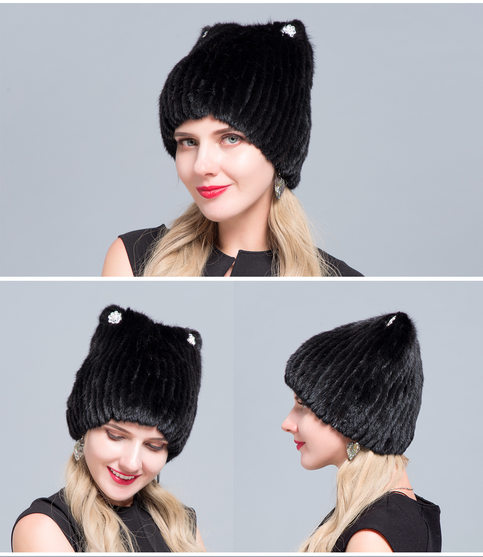 Middle aged women in the winter: mink fur women's knitted sweater hat new fashion European and American cat style ski caps 16