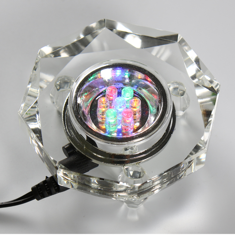 Octagon LED K9 Crystal <font><b>Light</b></font> Stand 7 Multicolor Bulbs