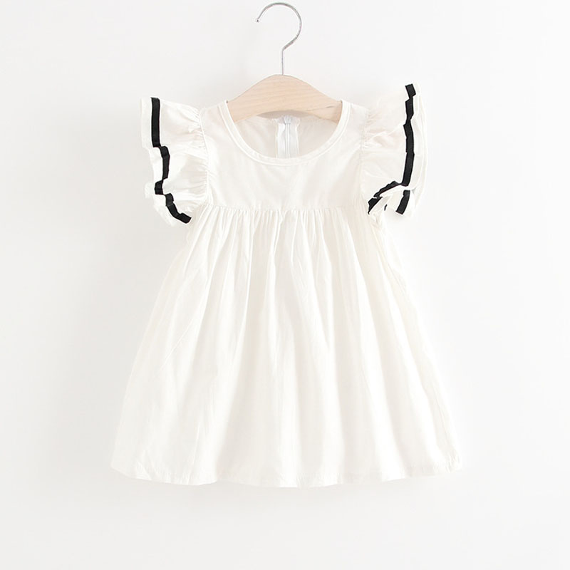 2018 New Summer Baby Girls Dresses Fashion Flying Sleeve Splice Colour Decoration Girls Princess Dresses Baby Clothes Dress