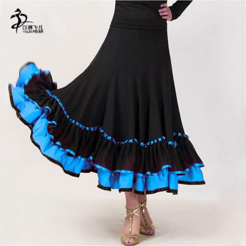 Women Flamenco Ballroom Dance Waltz Big Swing Hög midja lång kjol 6 färger