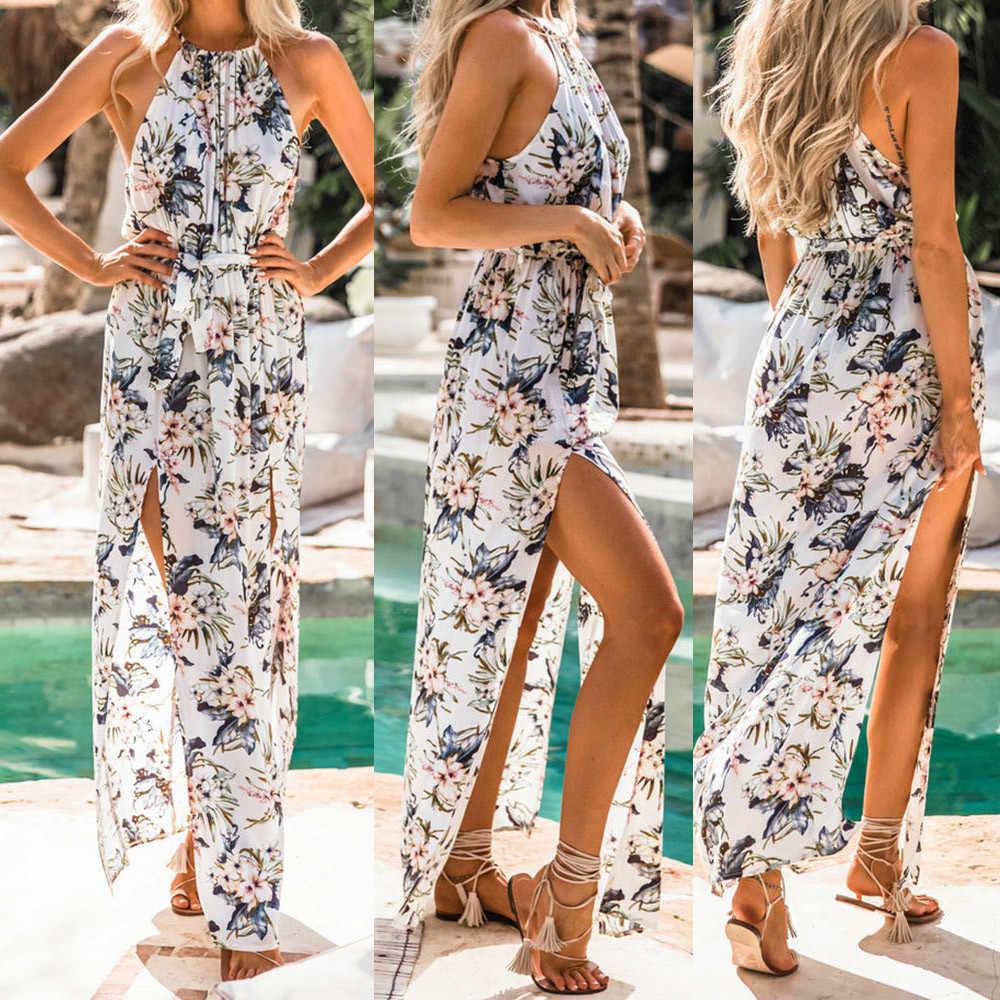 Womens Summer Print Boho Long Maxi Evening Party Beach Floral Dress