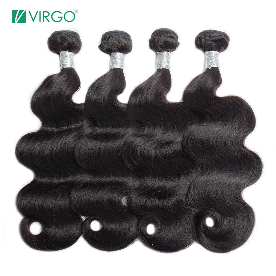 Virgo Peruvian Body Wave Hair Weave Bundles Natural Color 100% Human Hair weaving 1 / 3 / 4 Pieces 10 28inch Remy Hair Extension