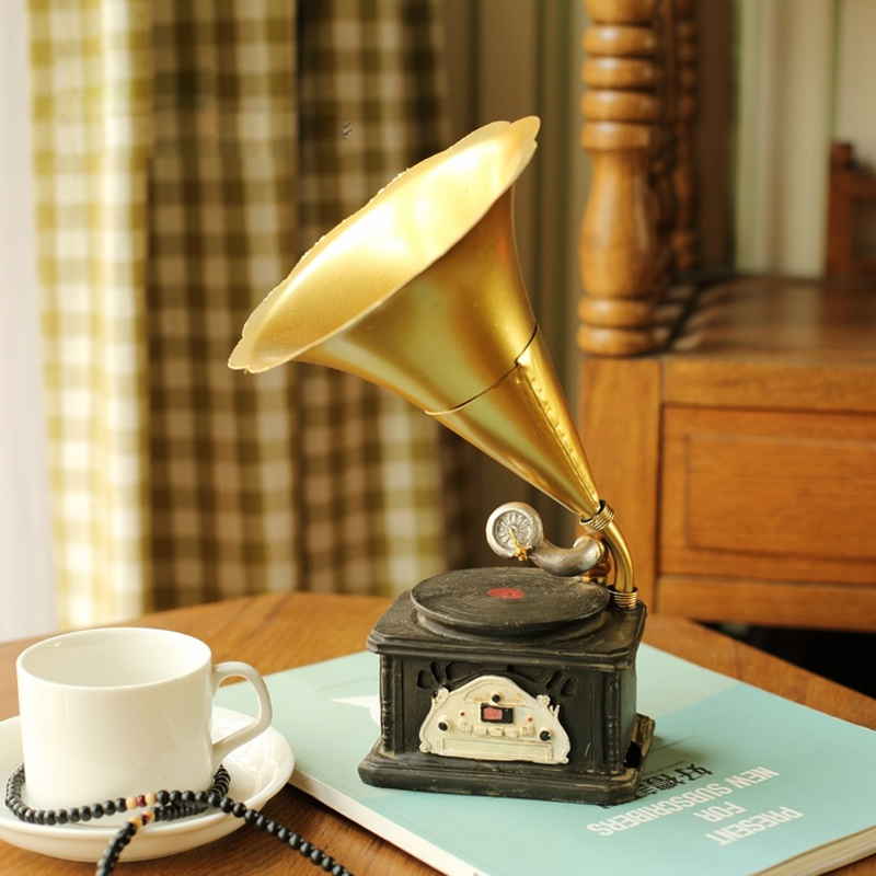 Creative Resin Phonograph Model make old technology gifts ornaments Crafts furnishing articles