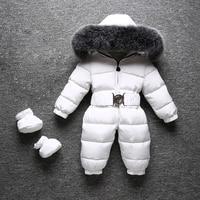 30 градусов Детские зимний комбинезон натуральным лисьим меховой воротник толстые теплые для мальчиков и девочек зимний комбинезон белая у