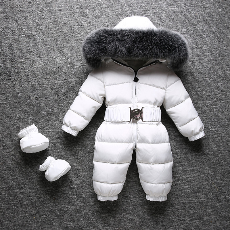 30 Degree Infant Baby Snowsuit Real Fox Fur Collar Thick Warm Kids Boys Girls Winter Jumpsuit White Duck Down Rompers Snow Wear