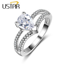 USTAR New 2017 AAA Zircon Heart Crystals wedding rings for women silver color engagement crown rings female anel fashion Jewelry