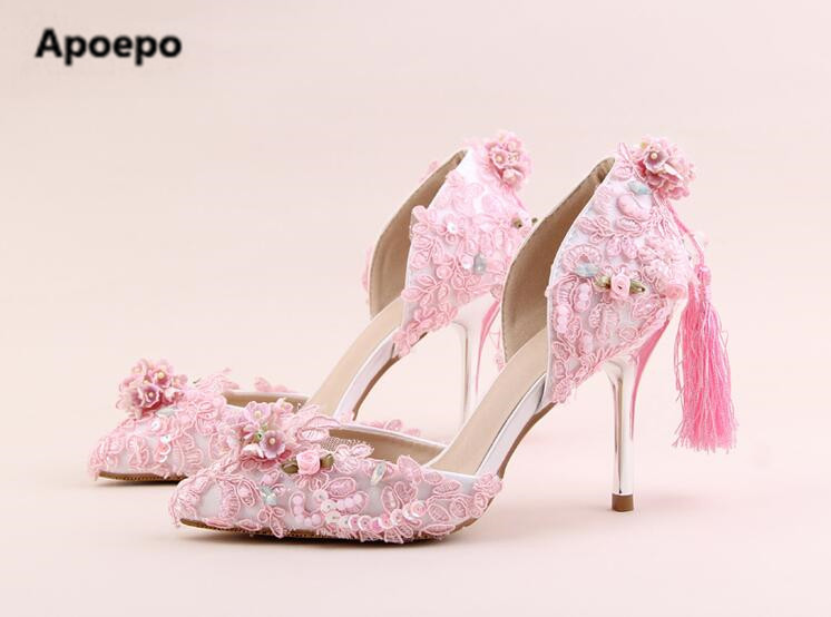 Apoepo brand mary janes pink shoes women Handmade flower pumps bling bling bride wedding shoes high heels pumps ladies shoes apoepo handmade wedding bride shoes bling bling crystal pregnant shoes 3 5 cm increased internal low heels shoes mary janes shoe
