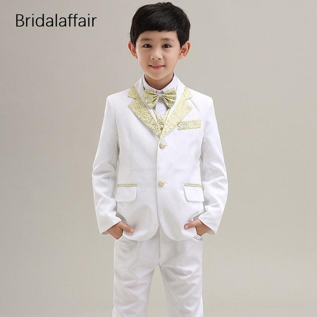 46fbd31125 KUSON Fashion Kids Suits Boys Prom Party Tuxedos Costume Suits Children  Shiny White-gold Wedding Suit 3Pcs (Jacket+Pants+Vest)