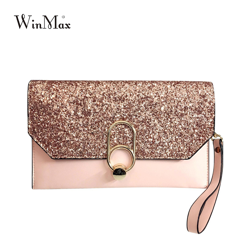 new design luxury Women s day clutches bling bling sequins envelope evening  party hand bag chain prom weeding pink grey black 04b182df79e8