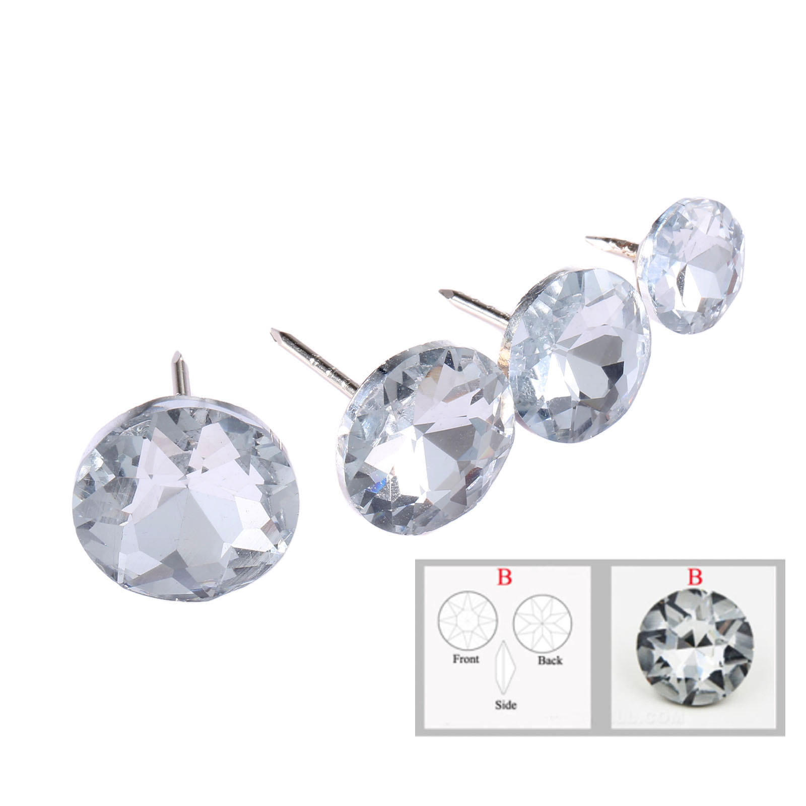 DRELD 10Pcs Diamond Crystal Upholstery Nails Buttons Tacks Studs Pins 14/16/18/22mm Sofa Wall Decoration Furniture Accessory