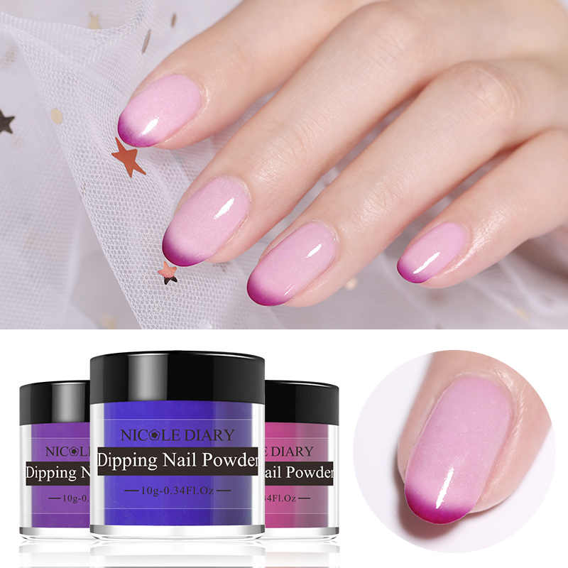 NICOLE DIARY 10g Thermal Dipping Nail Powder Gradient Color Change Light Change Dipping Nail Glitter Dust Natural Dry Decoration