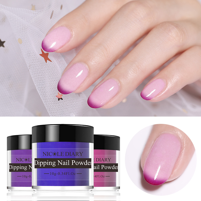 Image 5 - NICOLE DIARY 10g Thermal Dipping Nail Powder Gradient Color Changing Dipping Nail Glitter Pigment Dust Natural Dry Decoration-in Nail Glitter from Beauty & Health