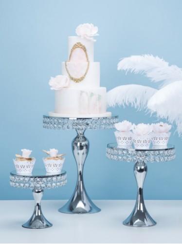 Mode de luxe cristal mariage gâteau stand titulaire gâteau centres de table gâteau fondant cupcake table douce bonbons bar table décoration